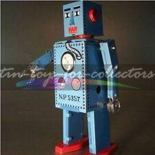 BLAUER LITHO. BLECH UHRWERK ROBOTER TIM TOM TOYS ROBOT MIT AUZUGSSPERRE