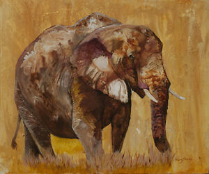 AFRICAN-GOLD-Original-20x24-ELEPHANT-Art-Painting-on-canvas-Sherry-Shipley