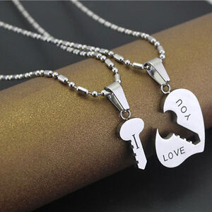 Cute best i love you couple lover matching key hearts pendant image is loading cute best i love you couple lover matching mozeypictures Images