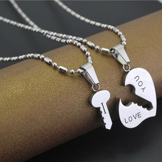 Cute Best I Love You Couple Lover Matching Key Hearts Pendant Chain