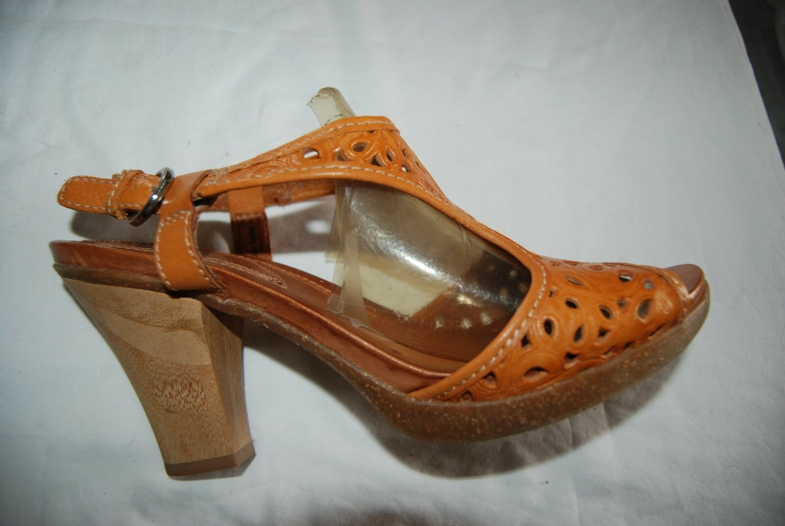 Caramel Brown Openwork Leather NAYA Alpine OpenToe Slingback Heels 8 M
