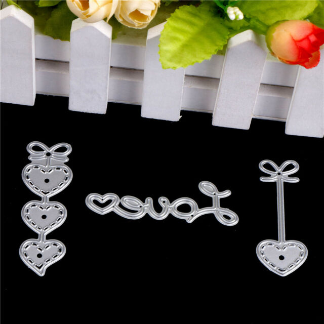 3pcs Love Heart Metal Cutting Dies Stencils For Scrapbooking DIY Cards Decor XS