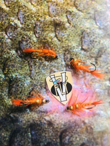 4 V FLY Ultimate Rio Grande Doppio Oro Perline Creeper Trota Di Mare Mosche 8 Modelli
