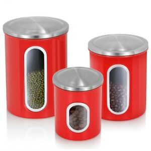 Image Is Loading 3Pcs Airtight Window Kitchen Canister Stainless Steel  Canisters