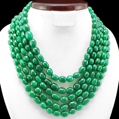 GEM EDH FINEST EVER 1130.00 CTS NATURAL 5 LINE GREEN EMERALD BEADS NECKLACE $$