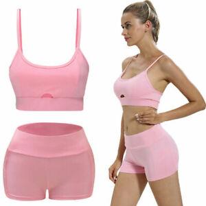 Women 2Pcs Yoga Suit Workout Gym Running Sports Bra Vest Shorts Athletic Set