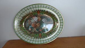 Daher Decorated Ware Made in England Oval Tin or Metal Floral Bowl w/Gold Trim