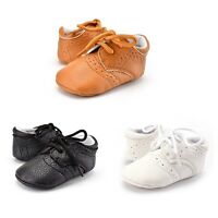 Stylish Baby Boys Girls PU Leather Crib Shoes Toddler Anti Slip Lace Shoes 0-12M