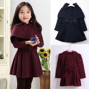 3e3e4eebef42 Toddler Kid Girl Long Trench Coat Winter Wind Jacket Dress Outerwear ...
