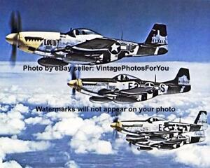 Details about World War 2 Color U S  P-51 Mustang Fighter Airplane  Formation Squad Photo