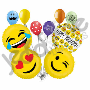Image Is Loading 10 Pc Emoji Happy Birthday Balloon Bouquet Party