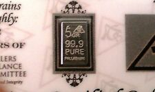 ACB Solid 5GRAIN SOLID Palladium BULLION MINTED BAR 99.9  Pure PD With COA