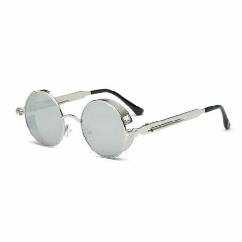 Polarized Lens Unisex Gothic Steampunk Blinder Cyber Round Goggles Sunglasses