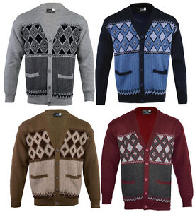 Mens-Classic-Button-Cardigan-Argyle-Grandad-Top-Knitwear-S-5XL