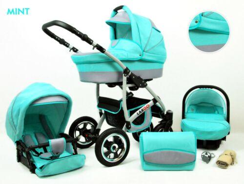 Polbaby Largo 27 Farben Pram Kombi Kinderwagen Set Buggy Autositz Zubehör