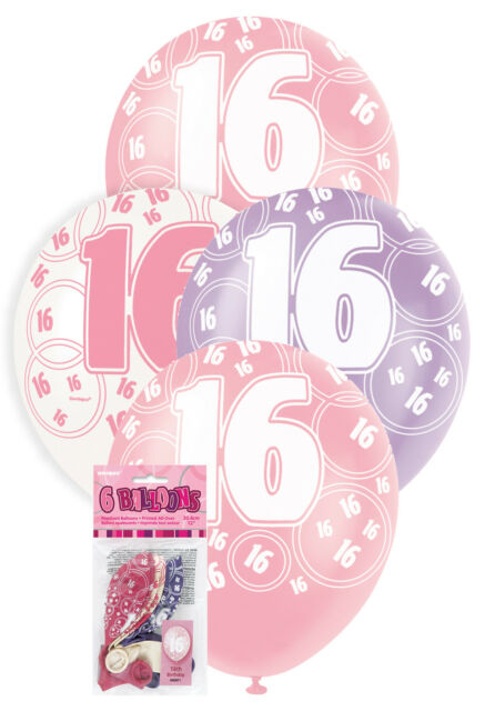 16th BIRTHDAY PARTY SUPPLIES GIRLS PINK PURPLE WHITE PACK OF 6 HELIUM BALLOONS