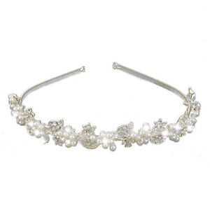 Bridal-Wedding-Crystal-Rhinestone-Pearl-Flower-Headband-Hair-Band-Tiara-I4a-I4T4