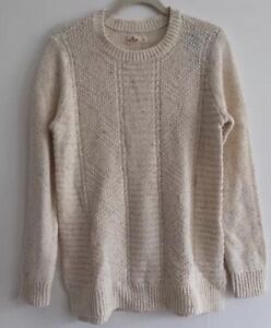 ca1db7d21f Hollister Women Sweater Cream Blue Lace Long Sleeve Cable Knit Large ...