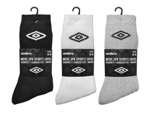 3 homme officiel UMBRO Coton Riche Uni Sport Chaussettes De Travail//6-11