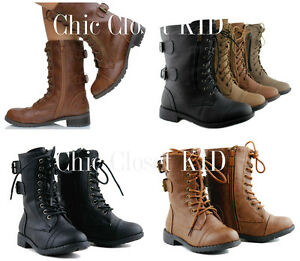 Details about Little Girls Toddler Combat Mid Calf Military Ankle Lace  Dress Up Boots Booties