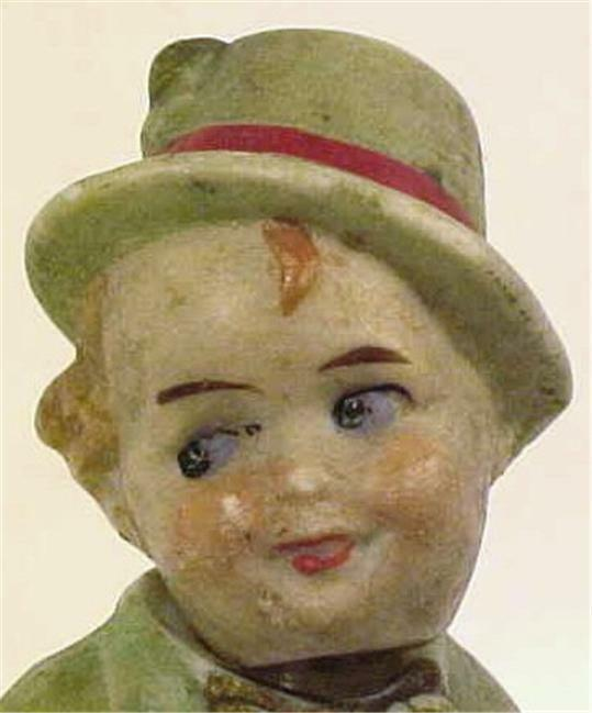 Antique Little Boy Nodder Doll Germany All Bisque Chubby & Adorable