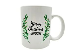 Merry Christmas Happy New Year 12 oz. Ceramic Mistletoe Coffee/Tea Cup/Mug