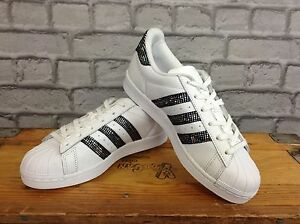 ADIDAS SUPERSTAR LADIES UK 5 EU 38 WHITE BLACK SPARKLE TRAINERS RARE ... 2620778f56