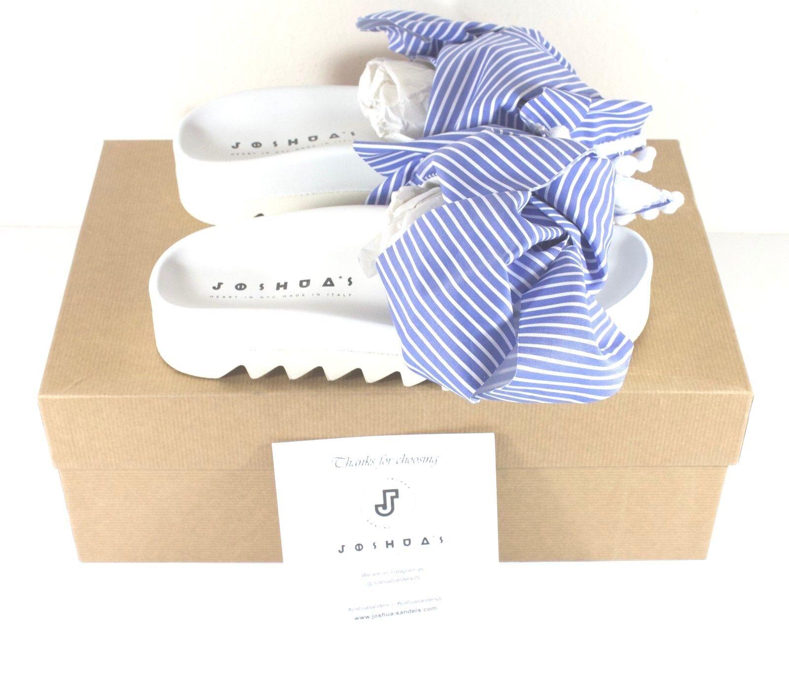 Joshua Sanders Wide Stripes Platform Bow Sandals bluee White Womens Size 37 US 7