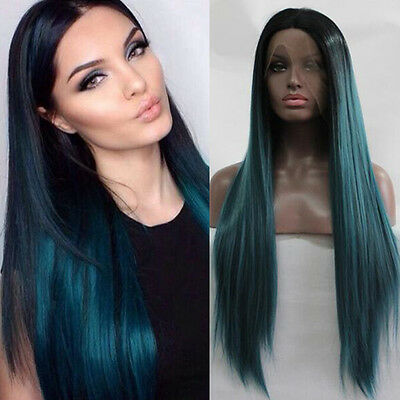 18''24'' Straight  Black And Teal Lace Front Wig Heat Resistant