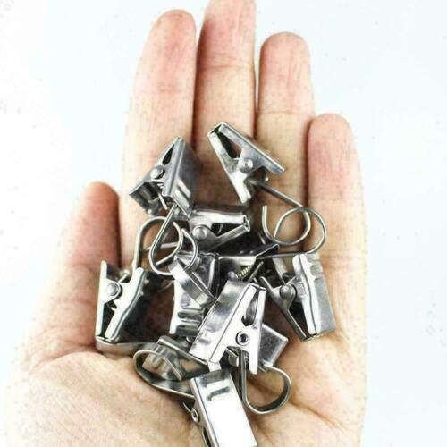 Steel Curtbin Rod Hook Clips Window Shower Clamps Rings Curtain P5X2 E8E8