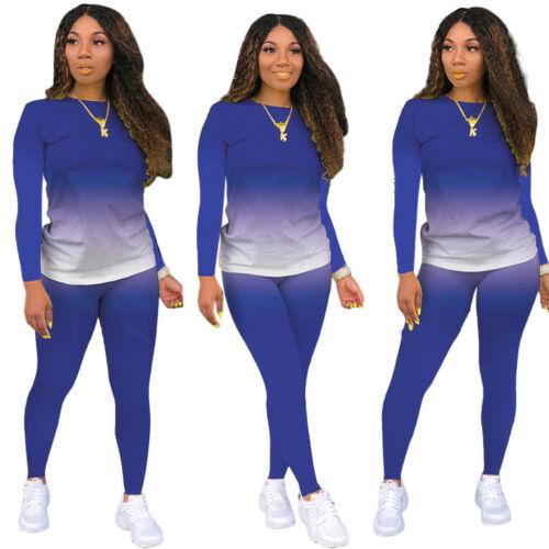 New Womens Tracksuit Jumpsuit Two Piece Blue Gradient Size Large