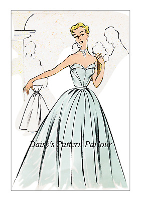 Vintage Sewing Pattern 1950s Cocktail Dress Eclair Coupe Paris Evening Gown 1950