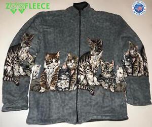103cbcf55c0 ZooFleece Women s Grey Cats Heavy Reversible Jacket Cat Kittens ...
