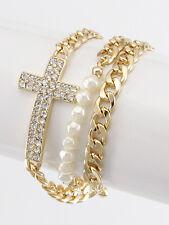 Gold and Cream Pearl Rhinestone Cross Wrap Bracelet