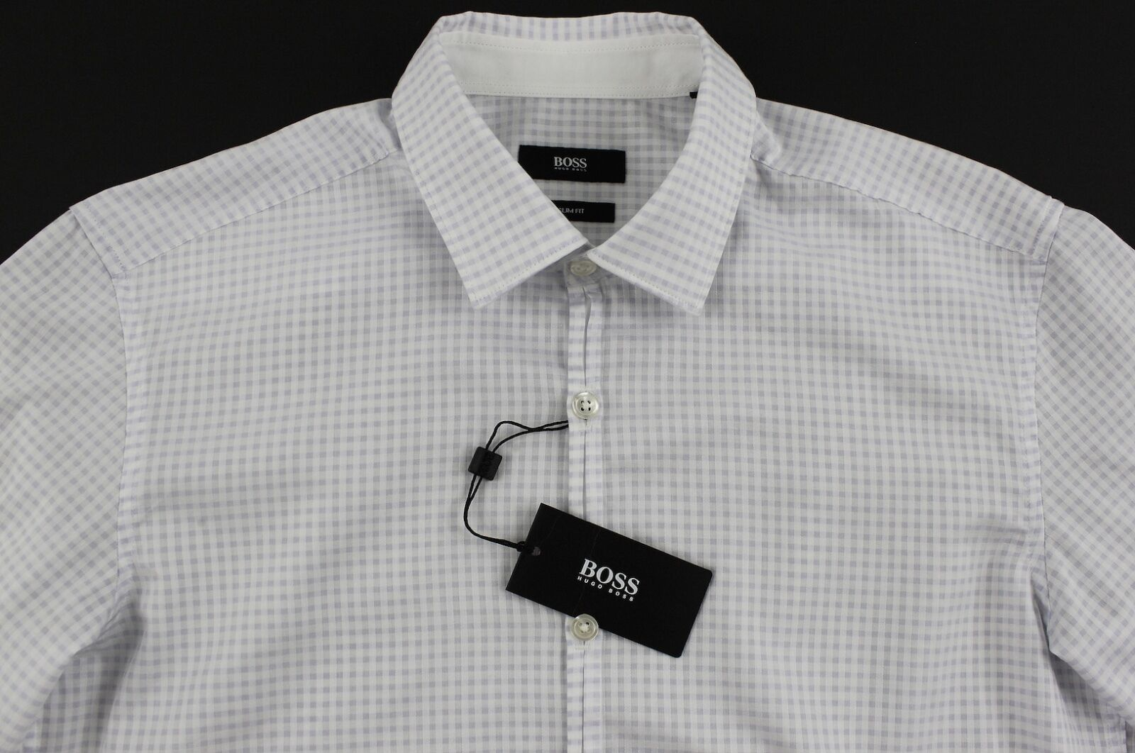 Men's HUGO BOSS White Plaid RICCARDO Shirt XL Extra Large NWT NEW + Slim Fit