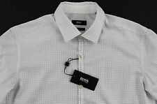 Men's Hugo Boss White Plaid Riccardo Shirt XL Extra Large Slim Fit