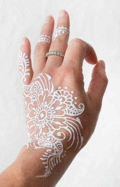 3 X Indian White Paste Temporary For Mehndi And Henna Designs