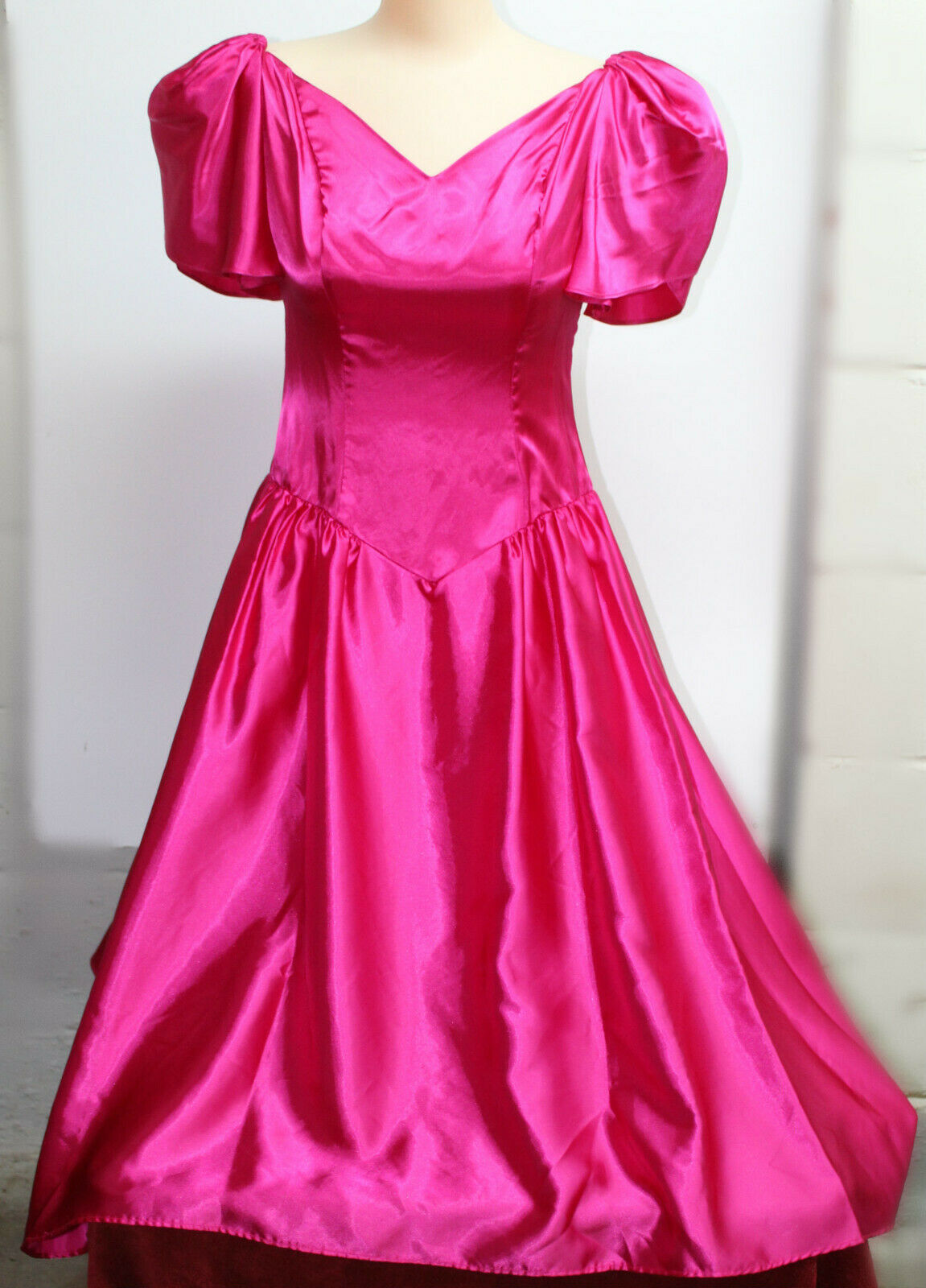 Vintage Pink Satin Prom Dress with Assymetrical High Low Skirt