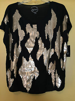 NEW INC Woman Black Sleeveless Top, Gold Sequins, Size 1X Plus NWT $79