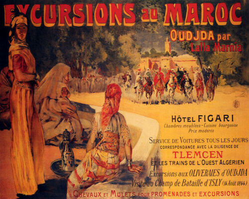 POSTER EXCURSIONS IN MOROCCO ARABIAN HORSE RACING TRAVEL VINTAGE REPRO FREE S//H