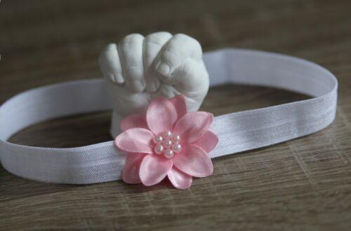 Stirnband Blüte Haarband Baby Mädchen Taufe Haarschmuck Kopfband Weiss Blume