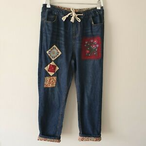 Vintage-Handmade-Floral-Patch-Cuff-Jogger-Jeans-Small-High-Waisted-80s-90s-Boho
