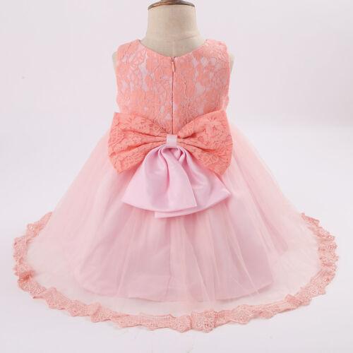 Baby Girls Princess Dress Floral Wedding Bridesmaid Christening Tutu Bow Gown UK