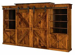 Amish Rustic Teton Wall Unit Entertainment Center Solid Wood Sliding Barn Doors