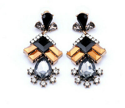 Hot Occident Retro Fashion Rhinestone Resin Water Drop Dangle Stud Earrings