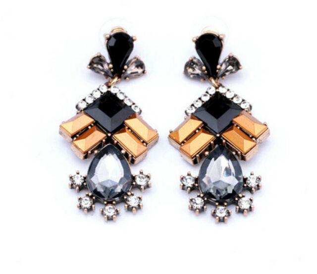Hot Occident Retro Fashion Rhinestone Resin Water Drop Dangle Stud Earrings