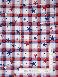 All-American-Patriotic-Star-Plaid-Red-White-Cotton-Fabric-Benartex-By-The-Yard