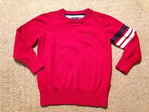 1a258a787e92 Image is loading Boy-039-s-Tommy-Hilfiger-Red-Crew-Neck-