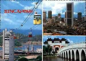 SINGAPORE-Singapur-AK-1984-mit-Briefmarken-Postcard-Cable-Car-diverse-Bauwerke