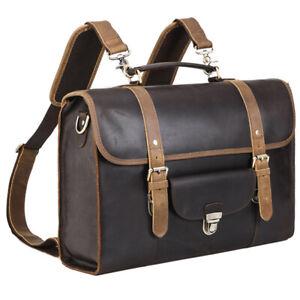 """Travel Vintage Men Leather Briefcaes Backpack School Bag 16"""" Laptop Satchel"""